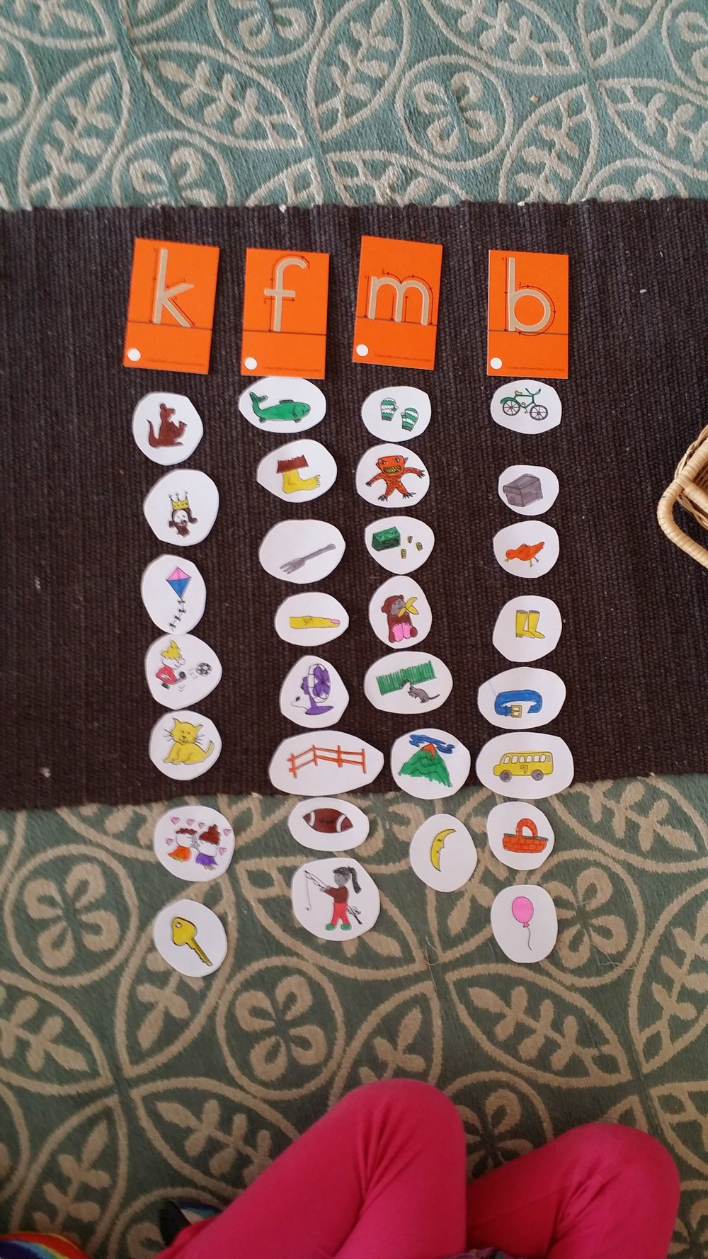 - Beginning sound practice and letter formation.