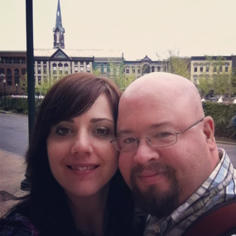 My handsome husband and I taking in Triangle Park.
