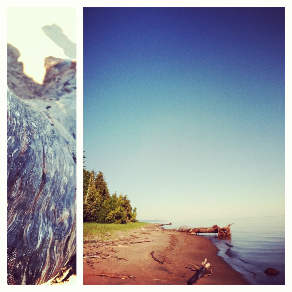 Ontonagon, Michigan beach and an interesting piece of driftwood.