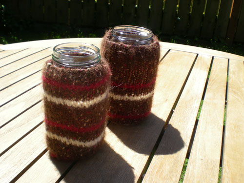 Project 1: Mason jar sweater coozies.   There is an excellent pattern on  design*sponge , I ended up re-purposing an old sweater. The best part about finishing this project was bringing them to the park full of beer, my hands were warm and my beer was cold, yay!