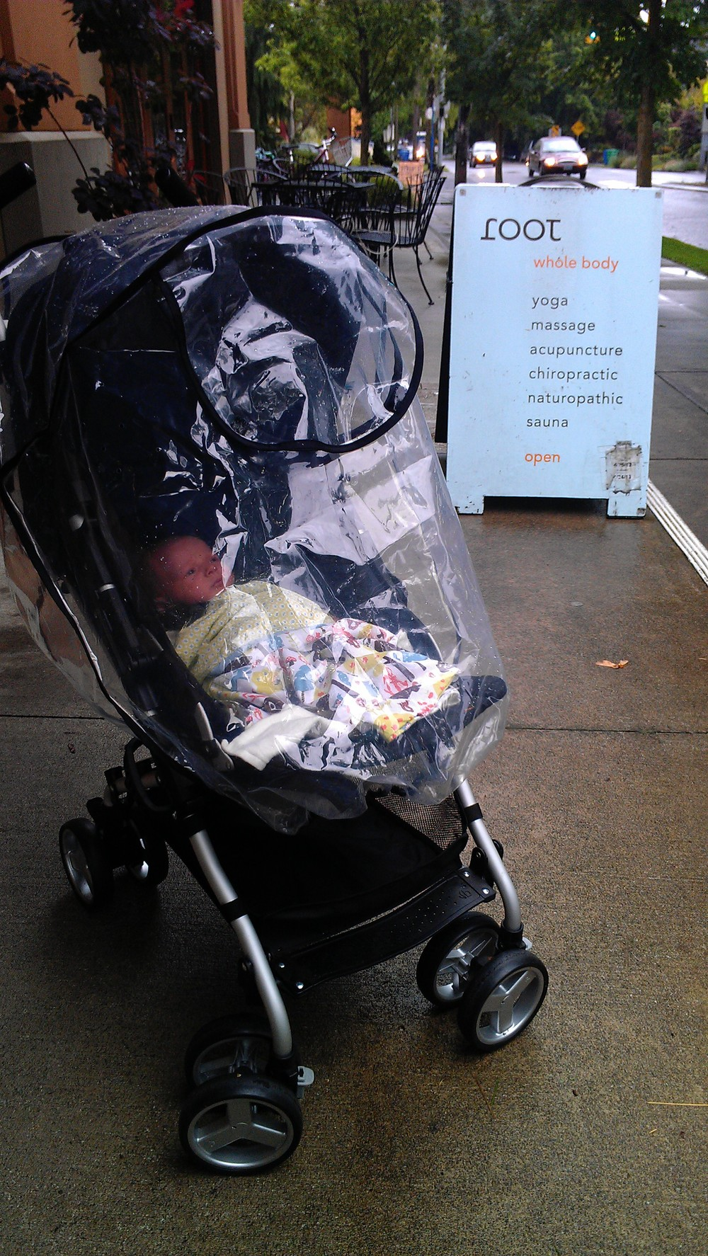 Took the stroller down to Root (didn't think I'd need the rain cover in June, but soo glad I had it!).