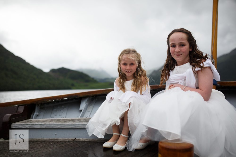 Two young flower girls pose on the stern of a Lake Ullswater steamer boat.jpg