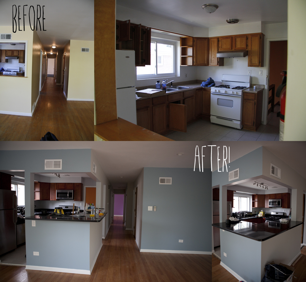 "I know my crazy photo arrangement makes it difficult to see, but we completely gutted the kitchen. We opened up the wall blocking the view from the kitchen into the living room to give it an ""open layout"" feeling."