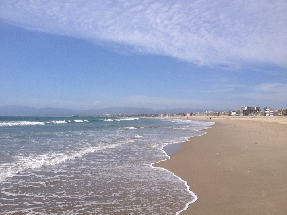 Looking along the beach towards Venice and Santa Monica.