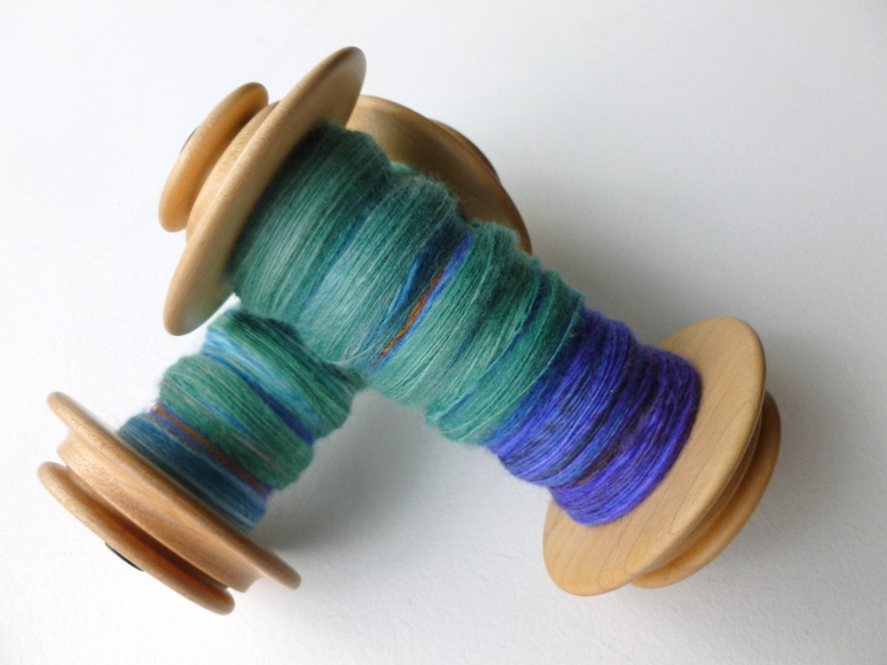 Got a couple of bobbins to empty before Spinzilla. Chain plying these beauties.