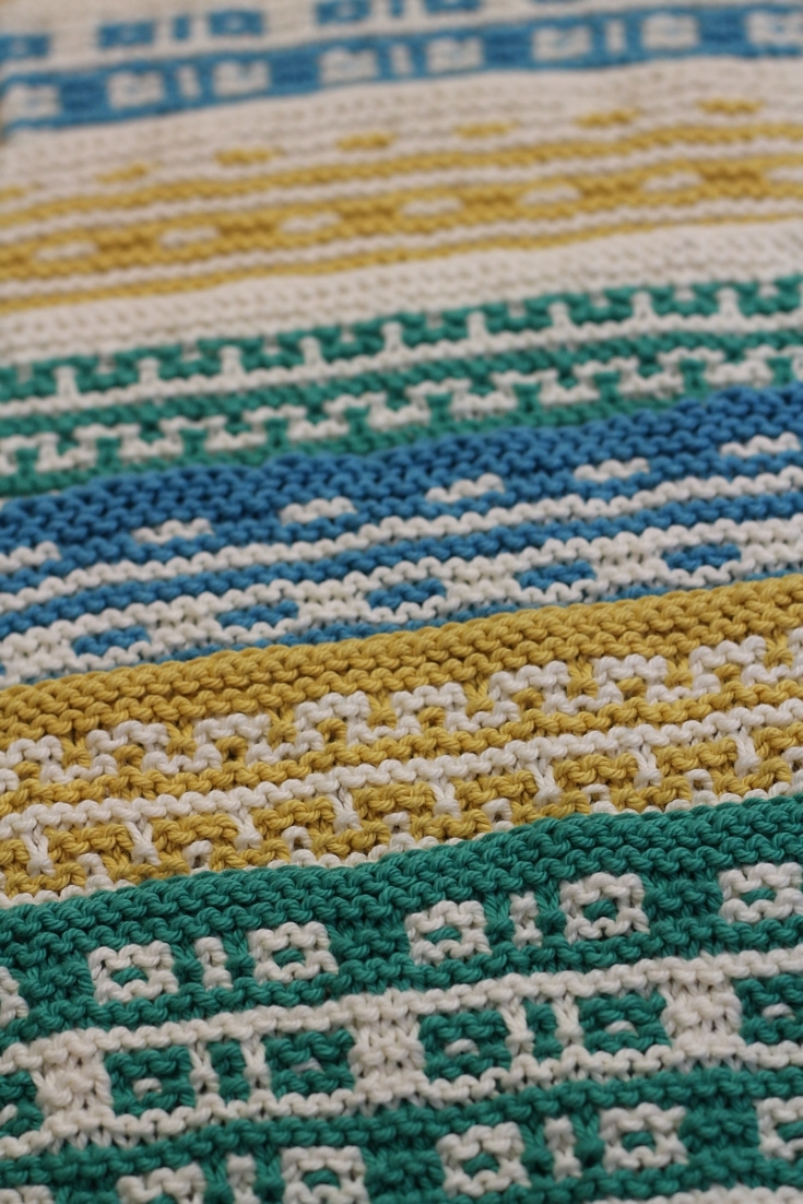 Colorful and geometric, the Mosaic Sisters are textured mosaic knit cloths perfect for the kitchen or the bathroom. Each cloth is made with garter stitch and slipped stitches that are simple to knit, but create complex patterns.All of the sisters can be made as a kitchen towel, washcloth, or coaster. Make a full set in 2 colors or mix and match.