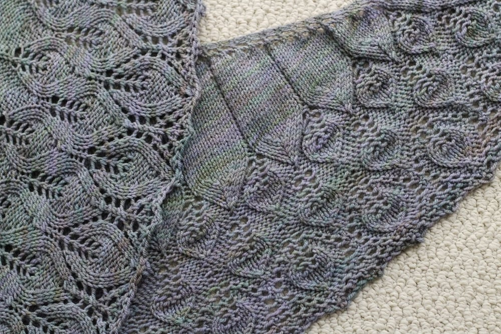 The Crescent Over Lothlorien Shawl was the first thing I knit from my 2015 holiday gift list. So pleased with how it turned out.  FO: Crescent Over Lothlorien and Dewberry Cowl - withwool.com