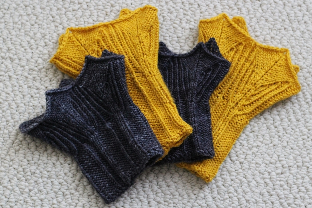 The kind of yarn you use matters! I used 2 different yarns to make 2 pairs of Precipitous cuffs on the same needles, and got two wildly different finished projects. -  FO: Precipitous Cuffs  |  withwool.com
