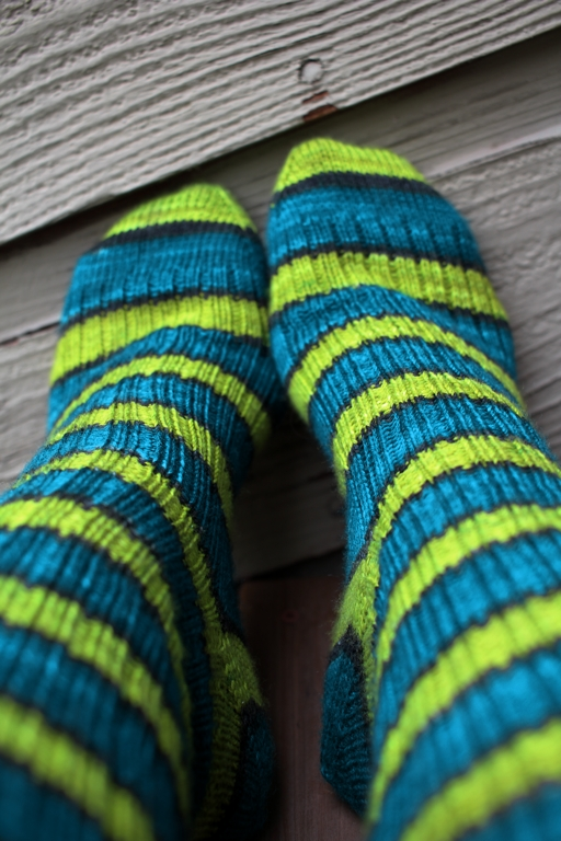 Self striping yarn knits up into great afterthought socks. This pair is going away to wait for cold snowy days. FO: TurtlePurl Socks | withwool.com