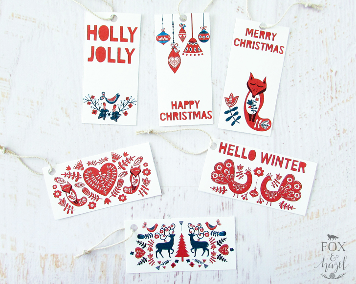 Enjoy these cute fox and reindeer gift tags with Scandinavian flair from  foxandhazel.com
