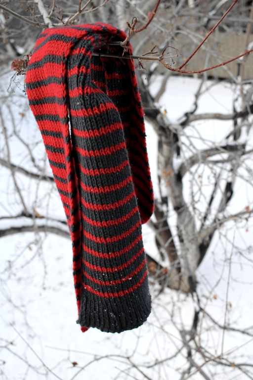 Introducing the Melded Scarf - a free scarf pattern designed for the Foster Care 2 Success' Red Scarf Project. | withwool.com