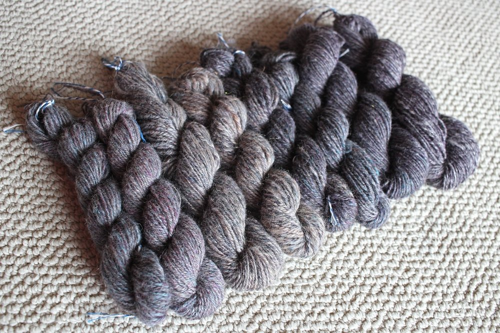 8 handspun skeins, 6 ounces of roving, and 1 beautiful color gradient. I spent almost 2 months spinning this yarn, and it was worth the effort. | withwool.com