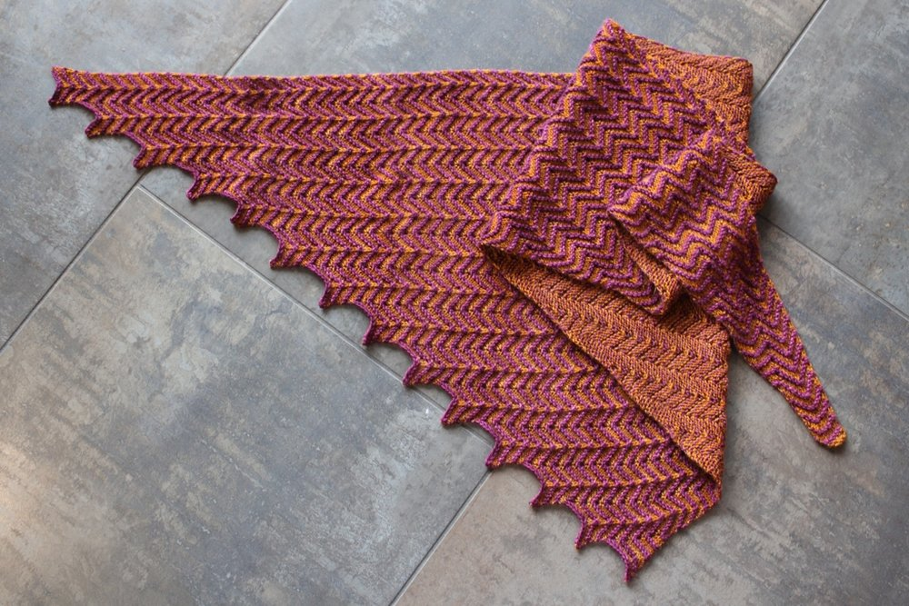 Looking forward to cooler temps, so I can finally wear my newly finished Feeling Groovy Shawl. | withwool.com
