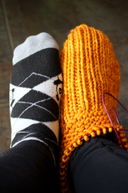 After years of waiting, I finally cast on a pair of slippers for myself. The first one is so cosy! #knitting | withwool.com