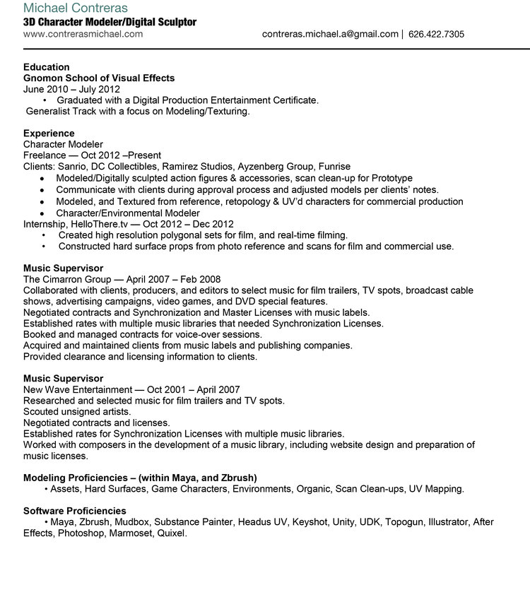 resume — MICHAEL CONTRERAS