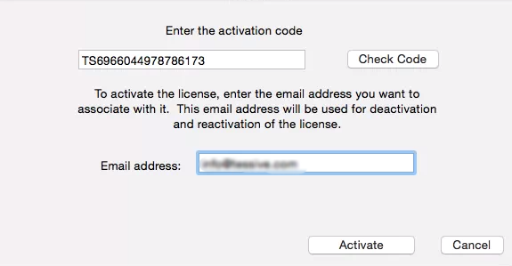 Activation Dialog if the Activation Code has not been previously used.
