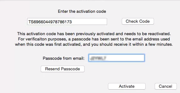 Activation Dialog if the Activation Code has been previously used.
