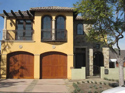 Wood Garage Doors | Stone Veneer | New Santa Monica Homes | Doug Leach
