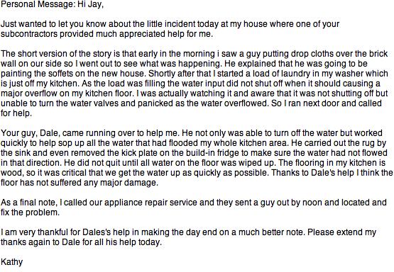Neighbor testimonial