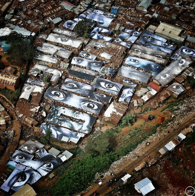 In July 2013, 4000 square meters of images representing faces of the women from Kibera, Kenya, were printed on vinyl to protect the roof of the community against the rain.
