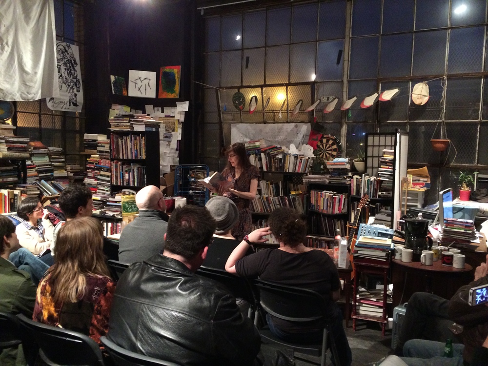 """Jane Rosenberg LaForge reading from """"An Unsuitable Princess"""" to a full house at the April 18, 2014, book party, held at the Mellow Pages Library in Brooklyn. Thanks for coming!"""