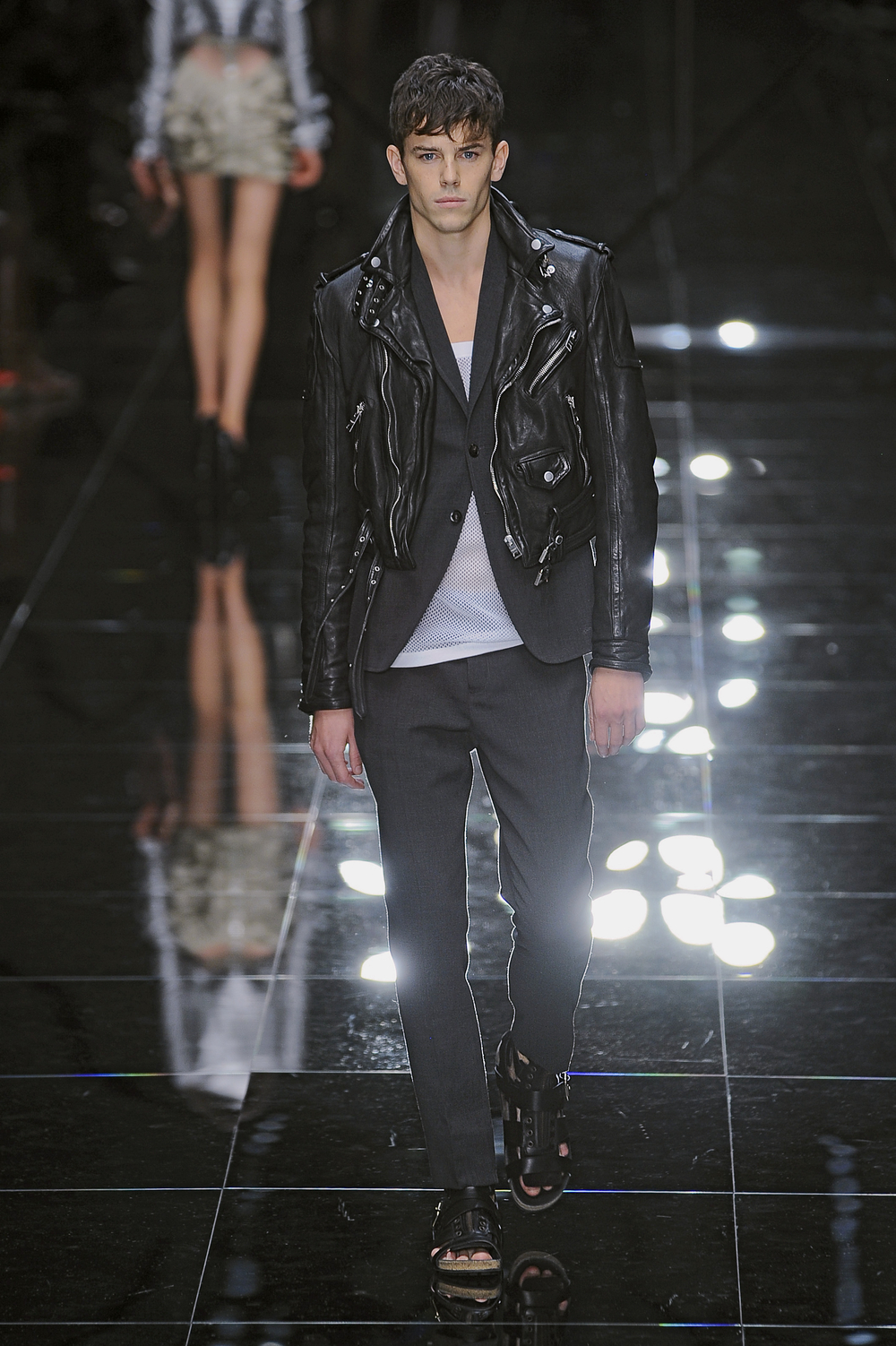 leather motorcycle jacket, care of Burberry Prorsum. Transient