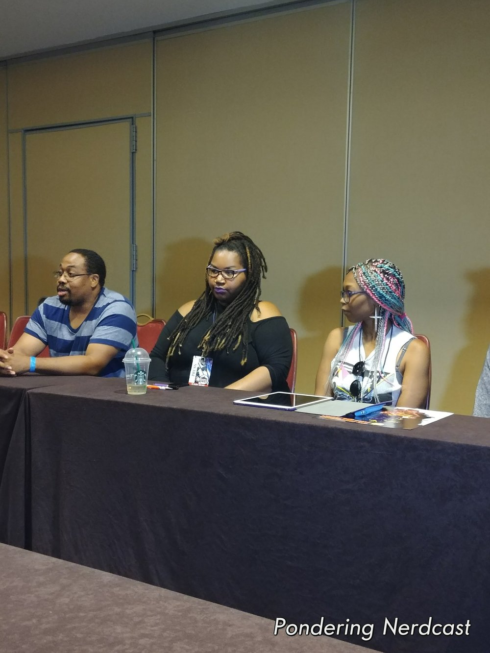 Lance (left) giving advice on a panel dedicated to new media along with Erika Hardison (center) of Fabulize Magazine, and Candice Jones (right) of Rebel A Studios