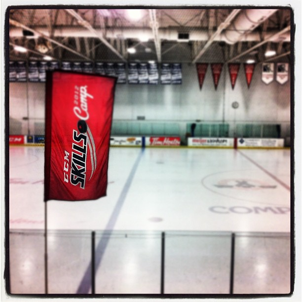 "My ""office"" for the weekend. Blogging for @CCMhockey #ccmskillscamp (Taken with Instagram at Compuware Arena)"