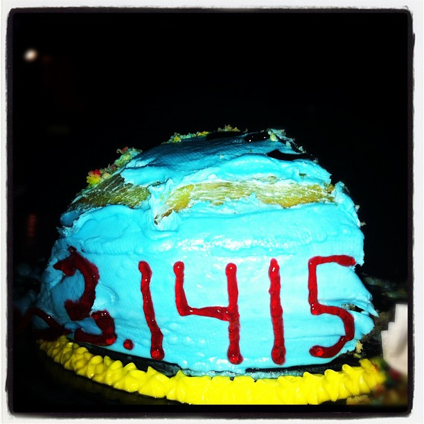 Irony! #pi #cake (Taken with  Instagram  at Park Tavern Bowling & Entertainment Center)