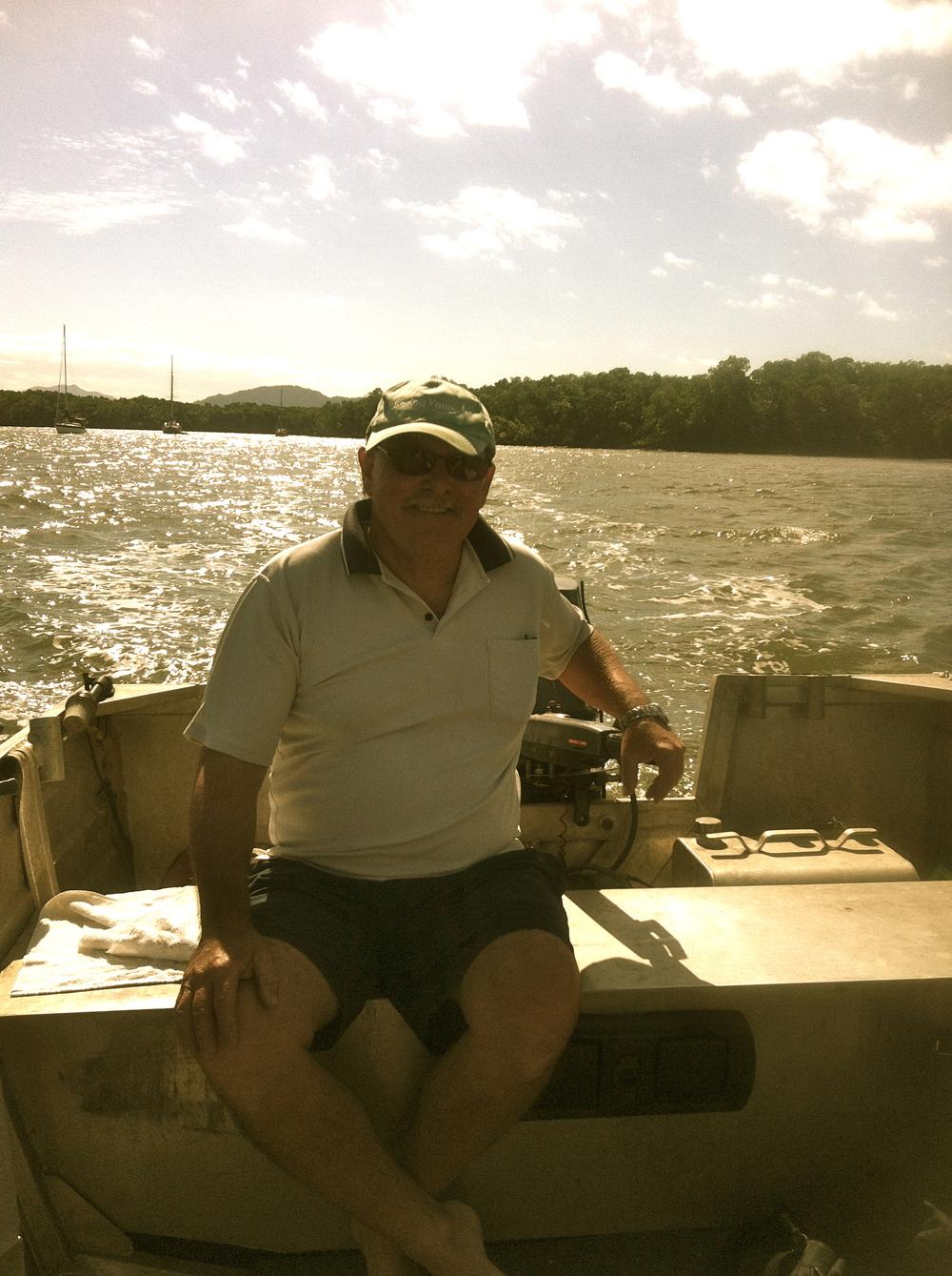 Captain Dennis taking us to his secret fishing hole.