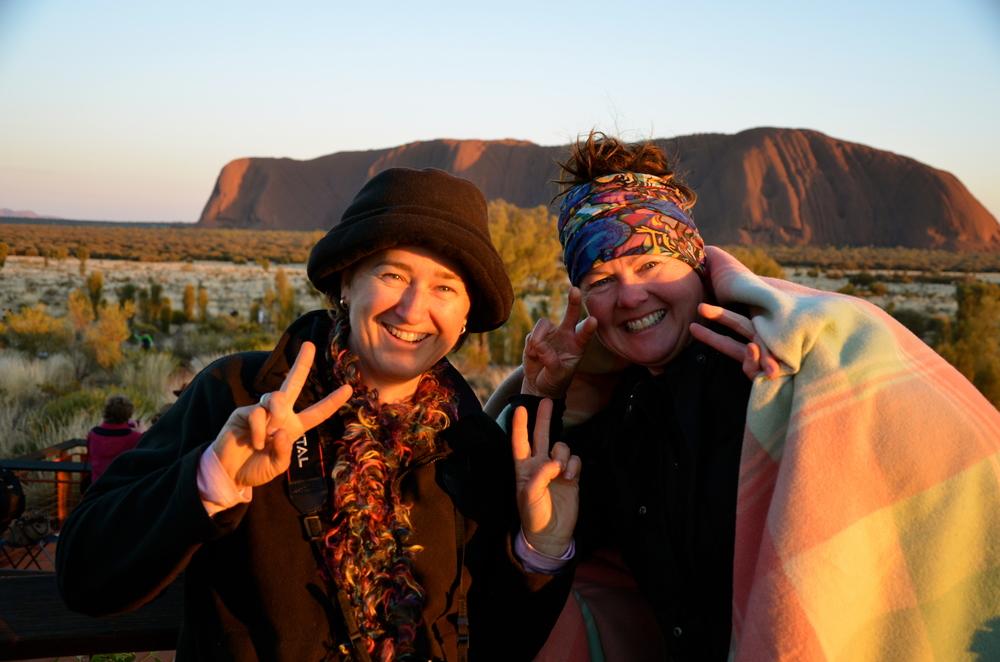 Loretta & Cat enjoying an Uluru sunrise!