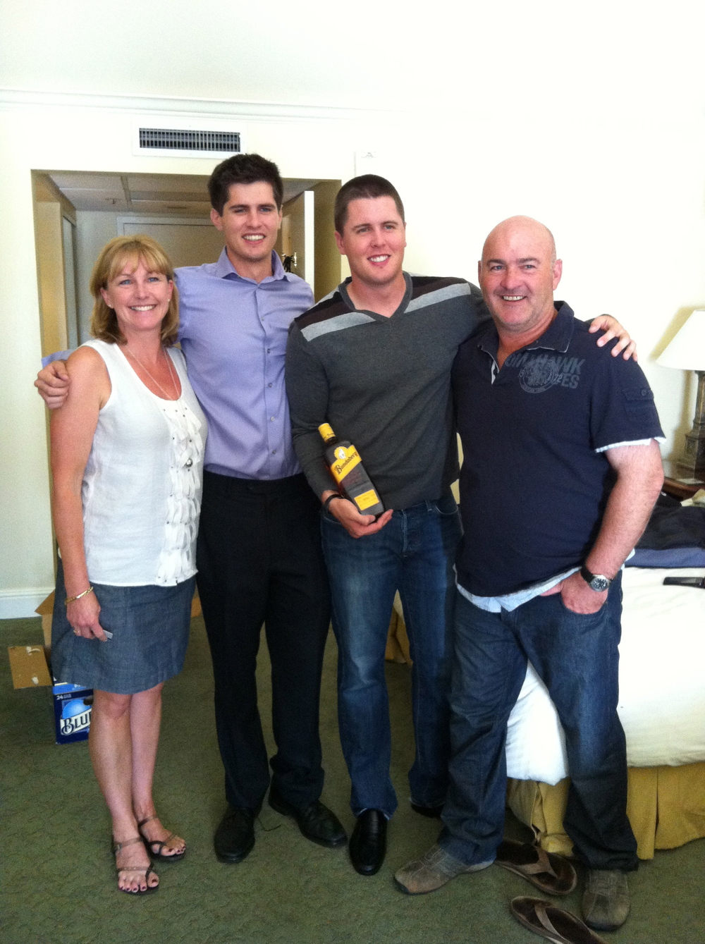 Cat's brother Brad with wife Anne with Paul and Chris.