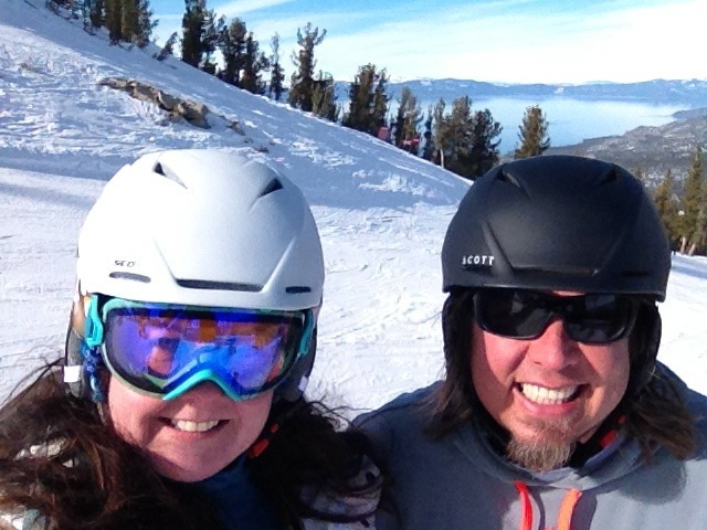 Kev & Cat brushing up on their skiing skills at Heavenly.