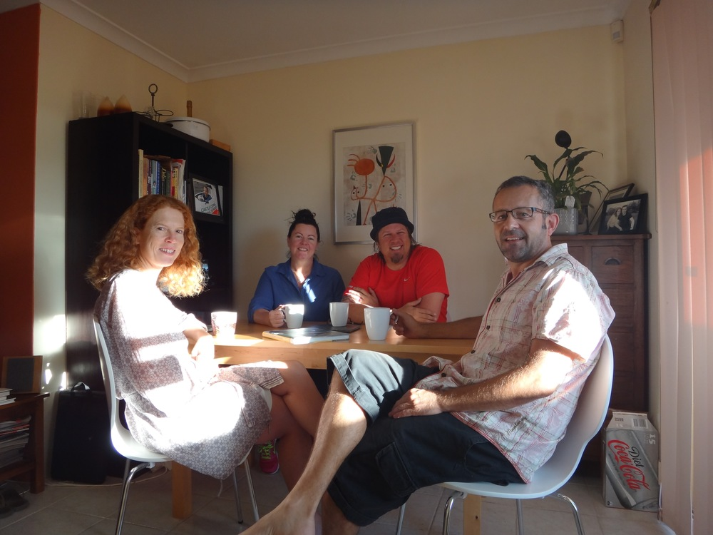 Morning coffee with Ewen & Liz.