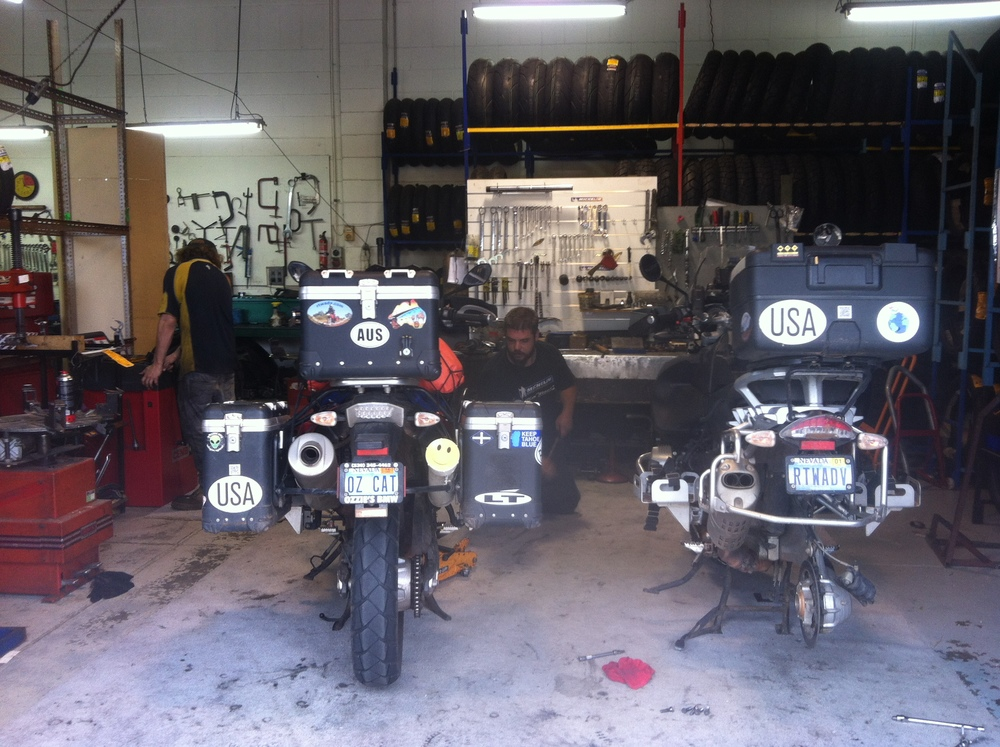 At GC Motorcycles, Adelaide. (awesome shop)  The bikes are getting fitted and balanced with new tires!