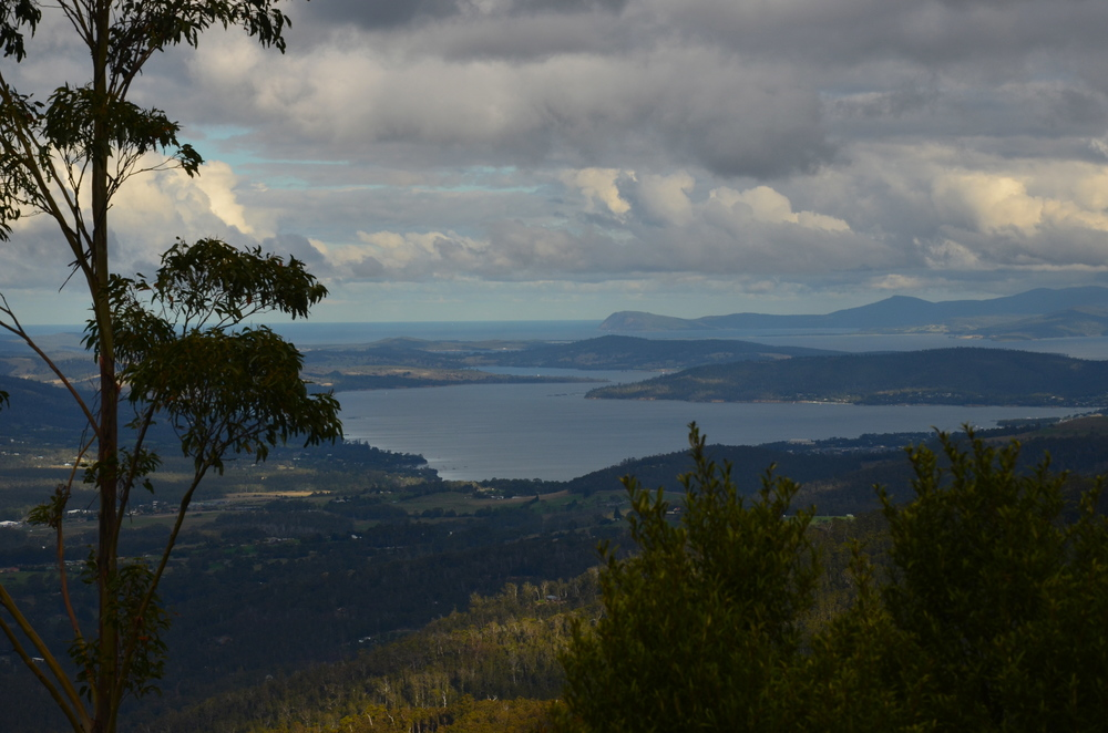 View over Hobart devil climbing our way up Mt. Wellington