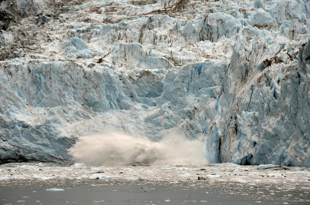 Even got a show! The cracking of the glacier  echoed across the sound. The wave the caused by the calving was significant enough that the vessel had to turn into it!