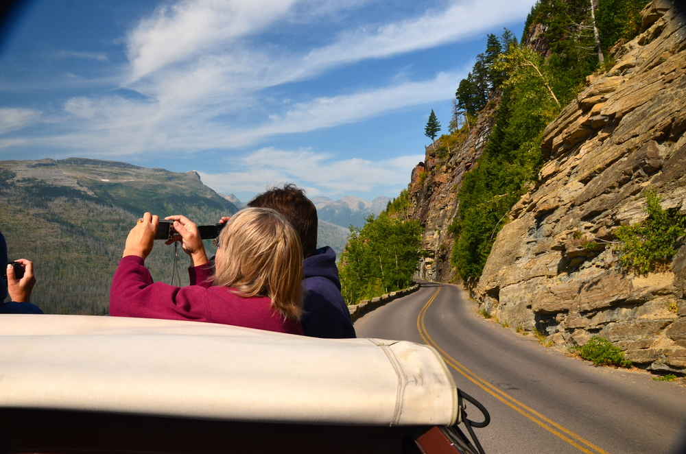 Riding Going-to-the-Sun Road on the Big Red Bus, Glacier National Park, Montana, USA