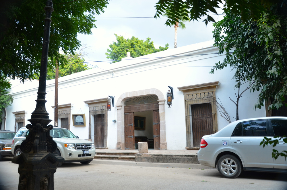 Hacienda from the street…our room is the iron coveredwooden shuttered window to the right.