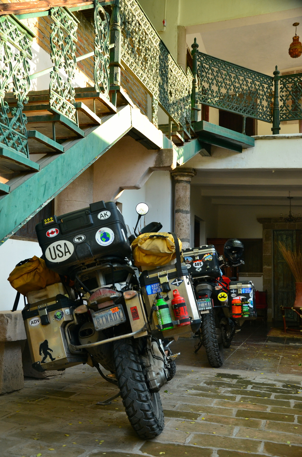 Our bikes safe and secure at the rear of the property.