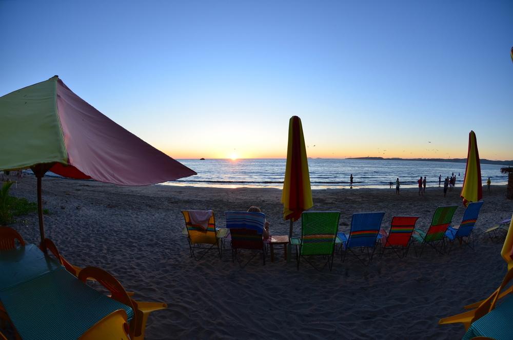 Inside Jolanda's, view out at beach
