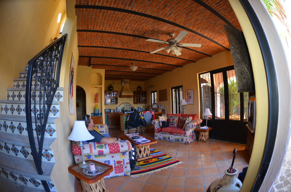 Mexican Sunrise House kitchen and living area.