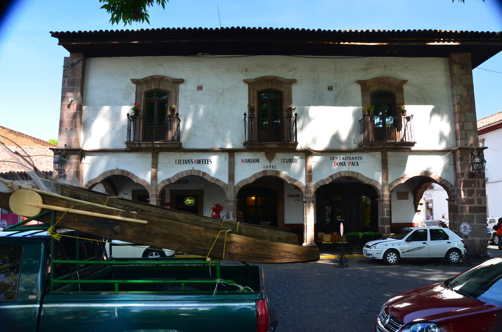 1770's Hacienda…Mansion Iturbe Hotel. Note the fishing canoes on the truck!