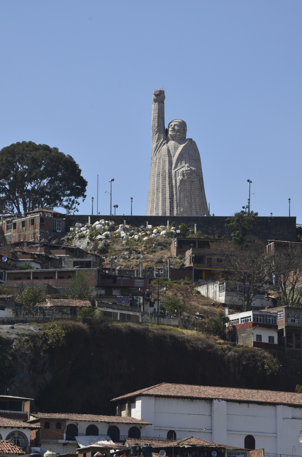 A 40 meter high monument of Jose Maria Morelos, a great hero of Mexico's independence its atop of the Island.