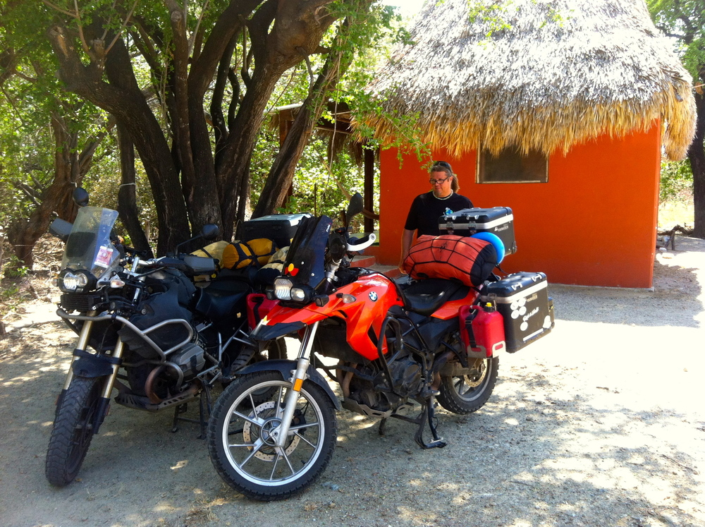 Bikes parked in front of our bungalow at Cocoleoco, Playa Bamba