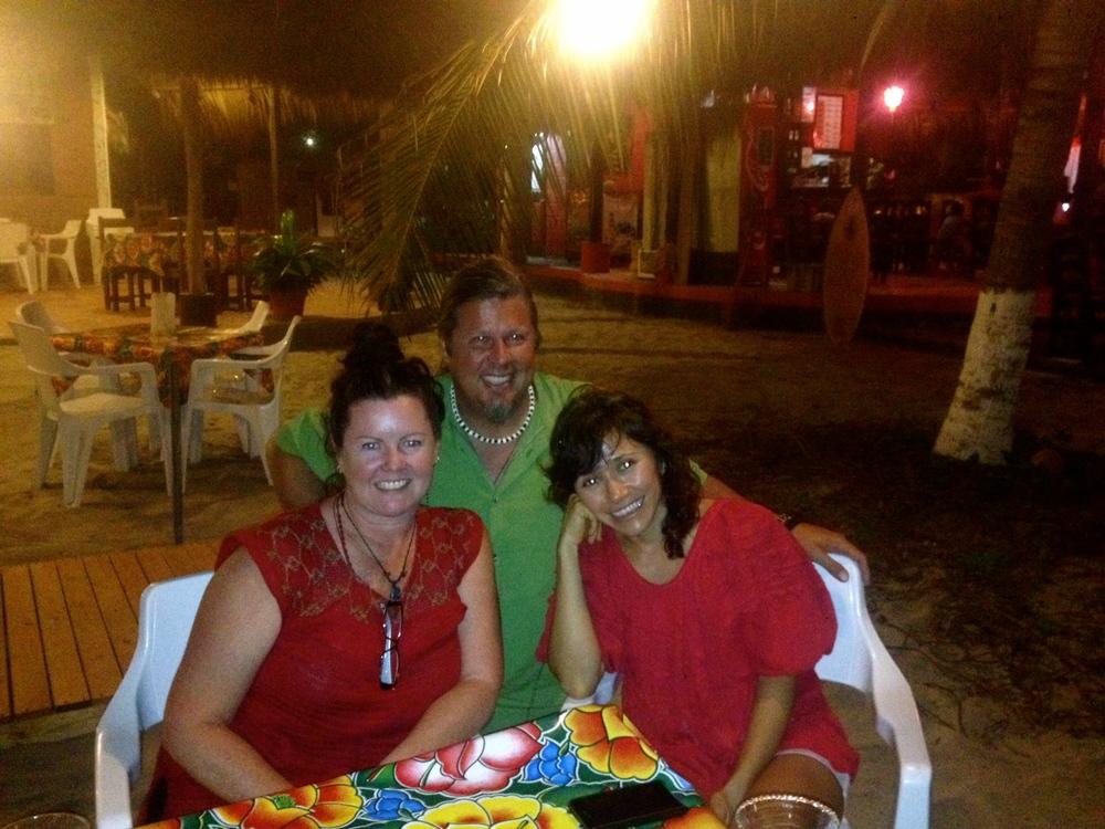 Adelina, Kev and I enjoying a diner at Playa Zicatela