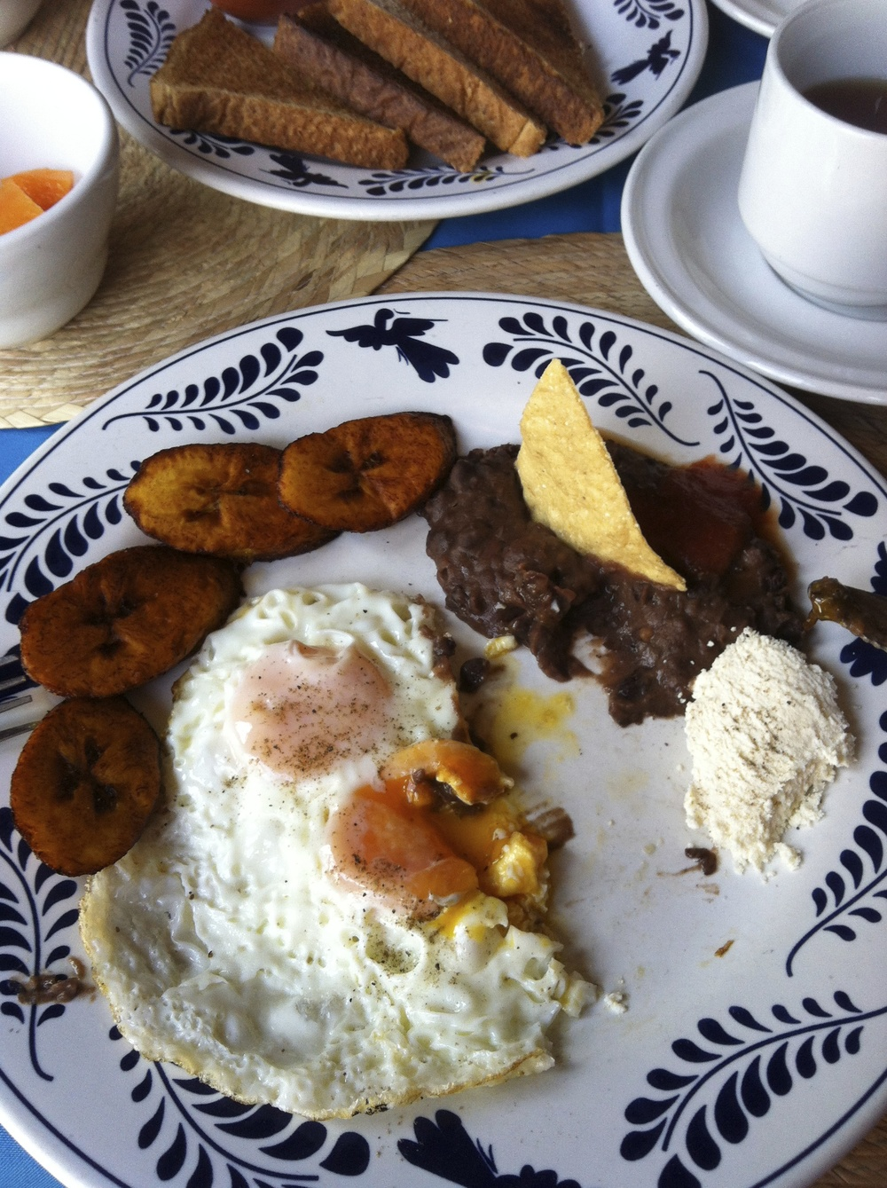 Fried eggs, plantains, black beans and cheese for brekky…Next time I'll take a pic before I take a bite!