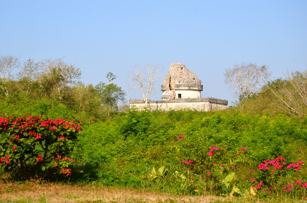 It is a beautiful morning….Sneak peak of the temple observatory, El Caracol,   from the back entrance.