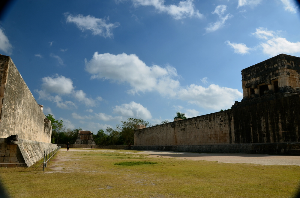 The Great Ball Court. Thirteen ball courts have been identified throughout the site! This is the largest and most well preserved ball court in ancient Mesoamerica.