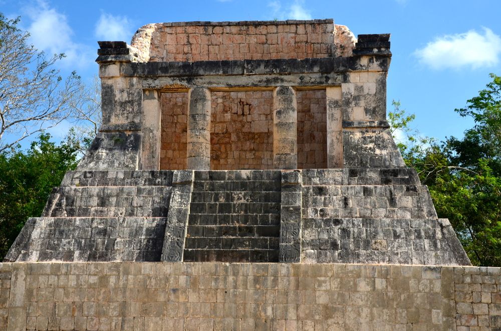 This is the North Temple, or Temple of the Bearded Man that sits at one end of the Great Ball Court.